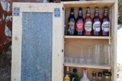 pallet wood and corrugated iron wall cabinet