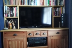 Alcove storage and cupboard with built-in TV and Stero