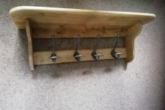Reclaimed Oak hall shelf with antique hooks