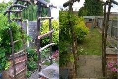 raw log garden arch