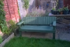 4 person garden bench made from used scaffold boards, bed slats  and pallet wood