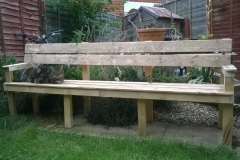 six foot long bench made from recalimed pallet wood