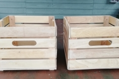 kitchen storage boxes made from reclaimed bed slats