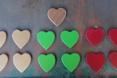more heart coasters from reclaimed 9mm marine plywood from an dismatled shed