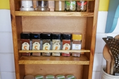 3 tier spice rack made from reclaimed pine dresser doors