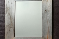 bevel edged mirror frame with pine floor boards