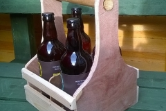 4 bottle beer caddy created using reclaimed plywood
