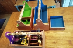 Tool Caddies with lift out tray and screwdriver rack made from 9mm marine ply
